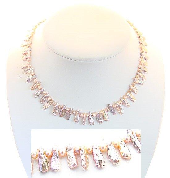 1005: Pink biwa stick/ baby pearl 16 inch necklace