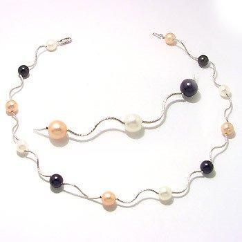 1006: WG9mm pinkblack white pearl wave 16in neck
