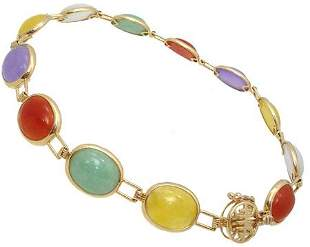 14KY 4.5ct multi color jade oval bracelet 7inch