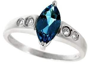 WG 1.25ct Blue Topaz marq .16 White Sapphire ring