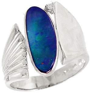 WG 1.45ct Boulder Opal .02dia bypass ring