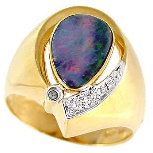 1.80ct Boulder opal bezel diamond ring