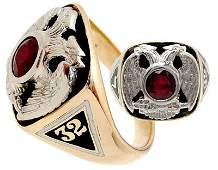 1106: 14KY Masonic .73ct Ruby bezel mans ring
