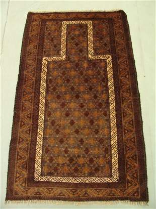 Semi Antique Persian Prayer Herati Rug 5x3
