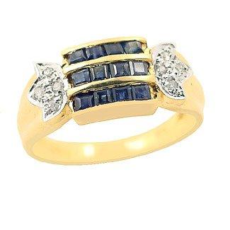 201: .70c sapphire princess cut .04di channel ring