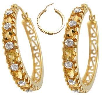 203: 14KY 1.25cttw Citrine diamond hoop earrings