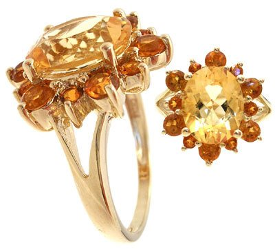 204: 14YG 3.20ct Citrine oval/rd cluster ring