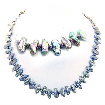 206: Black biwa style stick pearl 16inch necklace