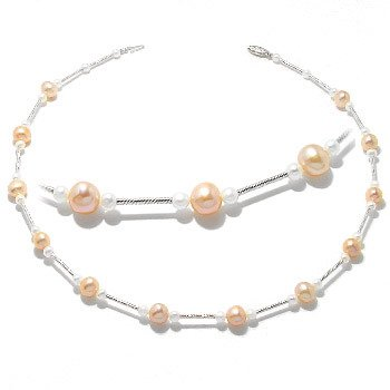 207: WG white gold Pearl Tin Cup 16in Necklace