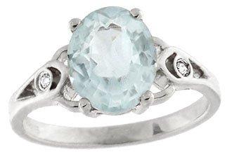 210: 14KW 2ct Aquamarine oval diamond ring