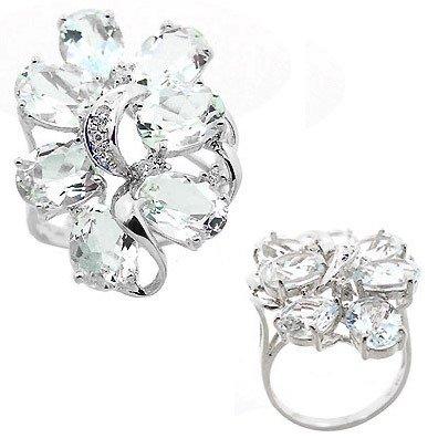 211: WG 8ct Aquamarine 7 oval diamond cluster ring