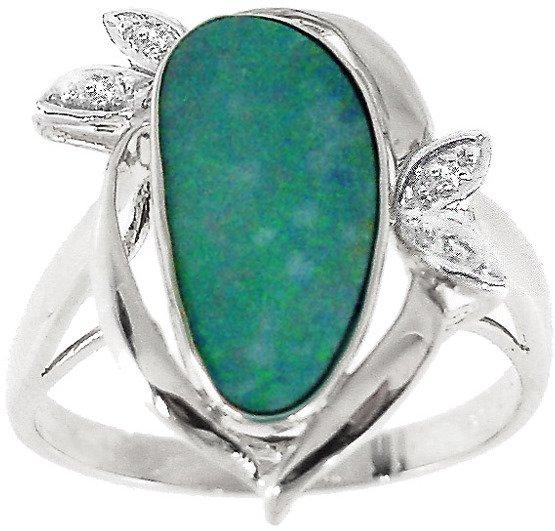 212: WG 2.25ct Boulder opal bezel diamond ring