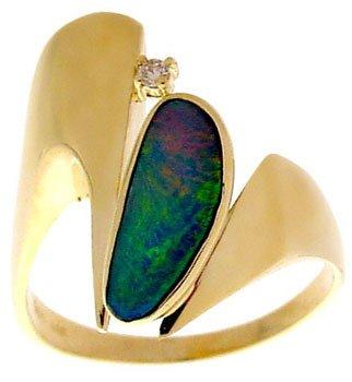 213: 14YG .75ct Boulder Opal dia freeform ring