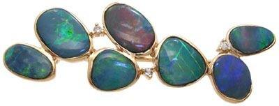 214: 14YG 5.50ct Boulder Opal doublet cluster pin
