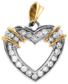 215: 10KW .50cttw DIAMOND heart pendant/chain