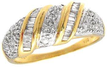 216: 18KY .33ct Diamond bagg/rd band ring