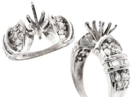 217: 14KW 5/8cttw Diamond rd/bagg semi mount ring