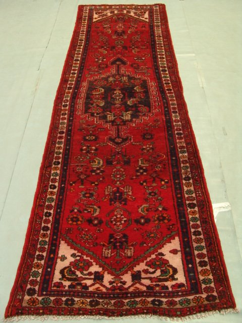 222: Semi Antique Persian Khrossan Runner Rug 9x3