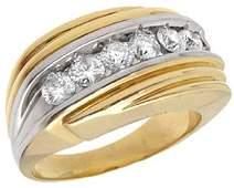 292: 14YG 1cttw Diamond mans ribbed ring