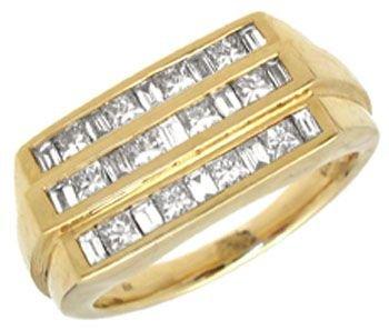 342: 18YG 1cttw VS/ SI Diamond channel man ring