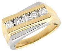 366: 14YG .50ct Diamond mans ribbed 2tone ring