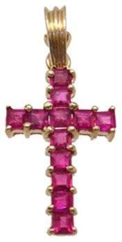 14YG .75ct Ruby princess cross pendant