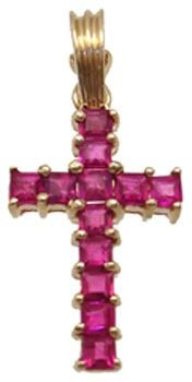 3200: 14YG .75ct Ruby princess cross pendant