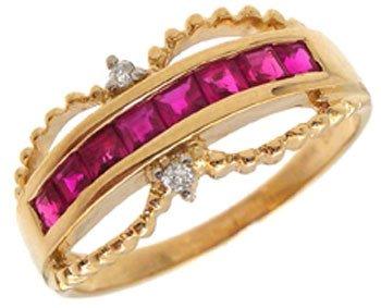 3201: 14KY .70ct Ruby princess dia band ring