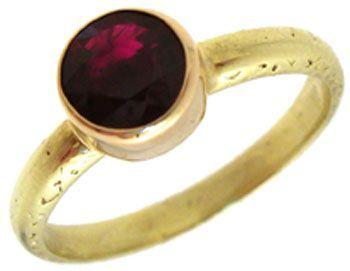 18YG .75ct Burmese Ruby bezel estate ring