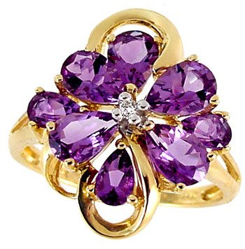 3203: 14KY 2.30ct Amethyst 8 pear Diamond ring
