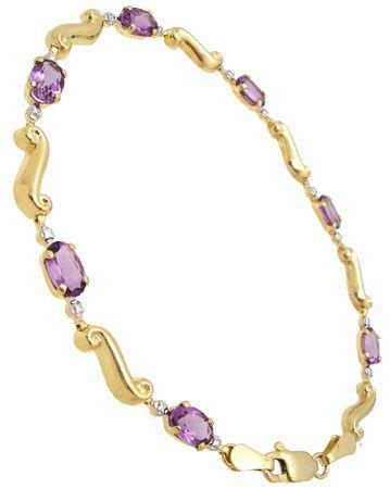 14KY Amethyst Oval Bracelet 7inch