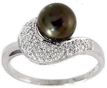 8mm Black Pearl & 18 Round CZ pavé Ring Band