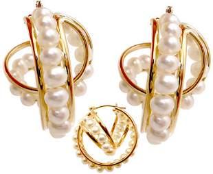 14YG 3mm white pearl double hoop earring