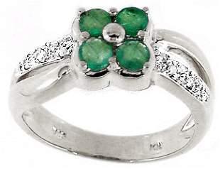 WG .60ct emerald diamond flower band ring