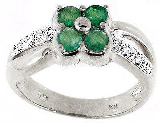 3209: WG .60ct emerald diamond flower band ring