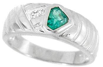 3210: WG .50ct Columbian Emerald trillion Dia ring
