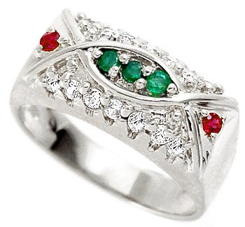 3211: WG .54ctw White Sapphire Emerald Ruby ring