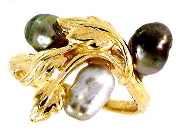 3212: 14KY 3 Keishi Tahitian Pearl Leaf Ring