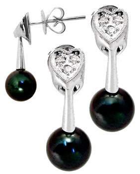 18KW 7.5mm Black Pearl dia drop earring