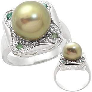 WG 11mm Tahitian Pearl .14ct green Dia Ring