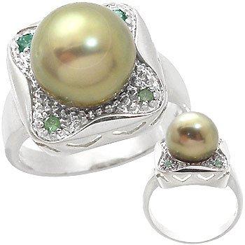 3214: WG 11mm Tahitian Pearl .14ct green Dia Ring