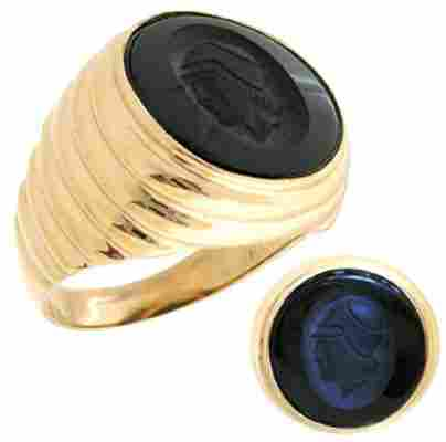 10YG Black Onyx trojan mans ribbed ring