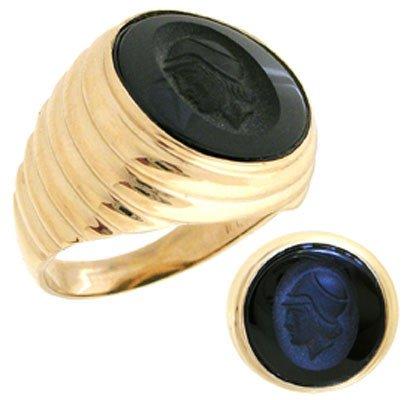 3216: 10YG Black Onyx trojan mans ribbed ring