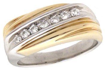 14YG .25ct Diamond mans ribbed ring
