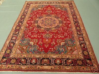 3248: Signed Beauty Persian Mashad Rug 9x6