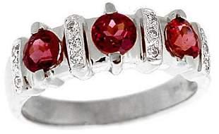14WG 1.22ctw Rhodolite Garnet Diamond Ring