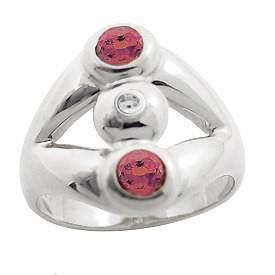WG 1ct rhodolite garnet diamond 3 bezel ring