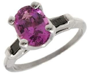 14KW 1ct Pink Sapphire Black Dia bagguette rg