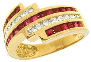 14YG 1cttw Ruby and Diamond channel ring