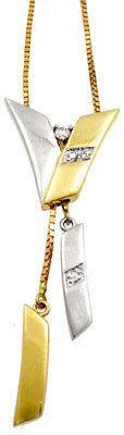 14KY DIAMOND two tone Lariat necklace